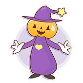 Pumpkin Wizard mascot has been welcomed with both hands. Work and Job Character Design Series.