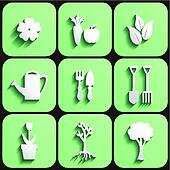 Garden and nature icon set