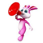 Happy bunny with loudspeaker
