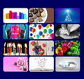 Range of gift card designs for all people, blue background