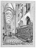 Choir of Notre-Dame de Paris, vintage engraving.