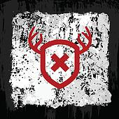 Red antler shield design