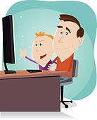 Daddy and son surfing on the net