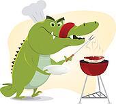 Cartoon Crocodile BBQ