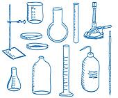 Science laboratory equipment  - doodle style