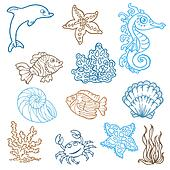Marine life doodles - Hand drawn collection in vector