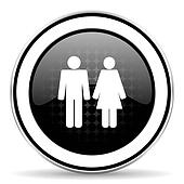 couple icon, black chrome button, people sign, team symbol