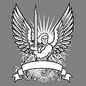 Vector Angel Warrior on Dark Background