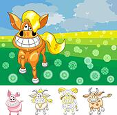 Vector set funny cartoomn farm aimals