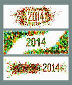 Happy New Year 2014 abstract colors banner set