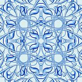Blue Christmas Pattern with Fantastic Foliage Elements