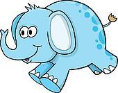 Goofy Silly Blue Elephant Vector