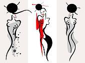 Beautiful women silhouette