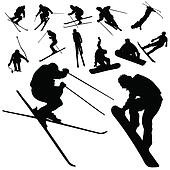 ski and snowboarding people silhouette
