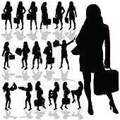 business woman with a bag black silhouette