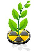 green plant growing from a sign radiation vector illustration