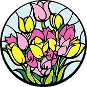 Stained-glass tulips.