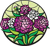 Stained-glass peonies.