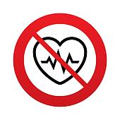No Heartbeat sign icon. Cardiogram symbol.