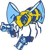 Vector Cartoon Bee with Two Pistols