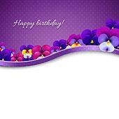 Lilac Flowers Pansies Card