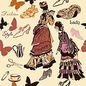 Stylish seamless wallpaper pattern with old- fashioned woman