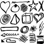 Set hand drawn shapes, circle