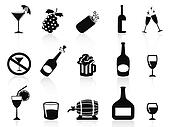 black drinks and beverages icons