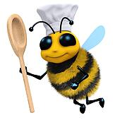 3d Bee chef with spoon
