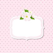 Apple Tree Flowers Background With Label