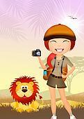 girl makes safari