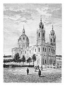 Basilica of the Sacred Heart of Jesus of Estrela in Lisbon, Portugal, vintage engraving