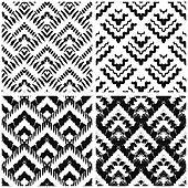 Hand drawn art deco painted seamless pattern.
