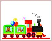 birthday card,funny train.