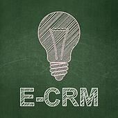 Finance concept: Light Bulb and E-CRM on chalkboard background