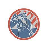 Metallic American Soldier Salute Holding Rifle Retro
