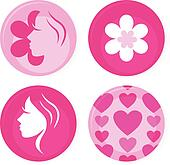 Pink female vector badges or icons isolated on white