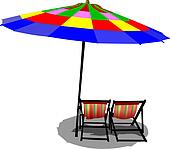 Two beach chairs and colored umbrella on beach