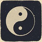Grunge yin yang symbol background. Vector illustration, EPS10.