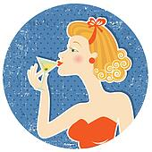 woman drink martini on old paper