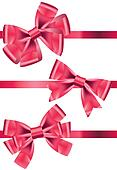 Vector set of different types of pink satin ribbons with bows
