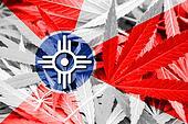 Flag of Wichita, Kansas, on cannabis background