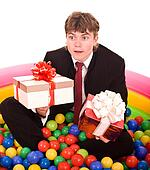 Businessman birthday with gift box.