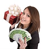 Girl in business suit  with money, red gift box.