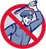Police Brutality Policeman With Baton