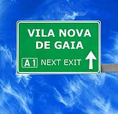 VILA NOVA DE GAIA road sign against clear blue sky