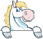 Horse Mascot Cartoon Head
