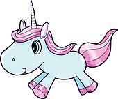 Cute Blue Unicorn Animal Vector