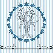 Sea food vector menu lobster drawing