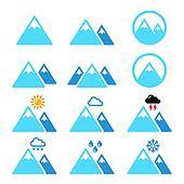 Mountain winter vector icons